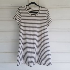 Madewell White Black Striped Tshirt Mini Dress XL